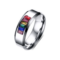 2015 New Fashion Rainbow Wedding Rings For Men And Women Wholesale Gay Pride Ring With Stone