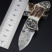 2018 New Hot Sale Fashion Swedish Powder Damascus Mini Tactical Folding Knife Portable Key Ring Pocket Small Knives EDC Tools
