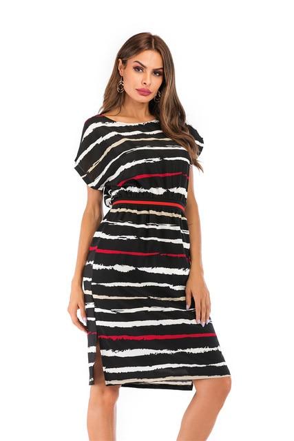 Summer Autumn Striped Dress Women Short Sleeve Sexy Casual Dress O-neck Stripe Women Pocket Elegant Dresses Plus Size 3