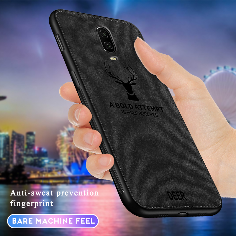 For <font><b>Oneplus</b></font> 6T <font><b>6</b></font> Cloth Texture <font><b>3D</b></font> Embossed Deer <font><b>Case</b></font> For <font><b>Oneplus</b></font> 7 Pro Premium Soft TPU edge Phone <font><b>Case</b></font> Cover image