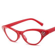 46f183604 Strass Retro Óculos Fashion Olho de Gato Miopia Quadro Decoração Óculos  Claros Mulheres Vermelho/Branco/Preto do Quadro
