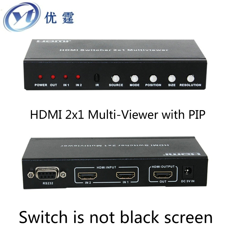 HDMI 2x1 Multi Viewer with PIP The two HDMI switcher seamlessly not black screen with RS232 IR doitop 4x1 hdmi multi viewer hdmi quad screen real time multi viewer hdmi splitter seamless switcher 1080p 60hz 3d ir control