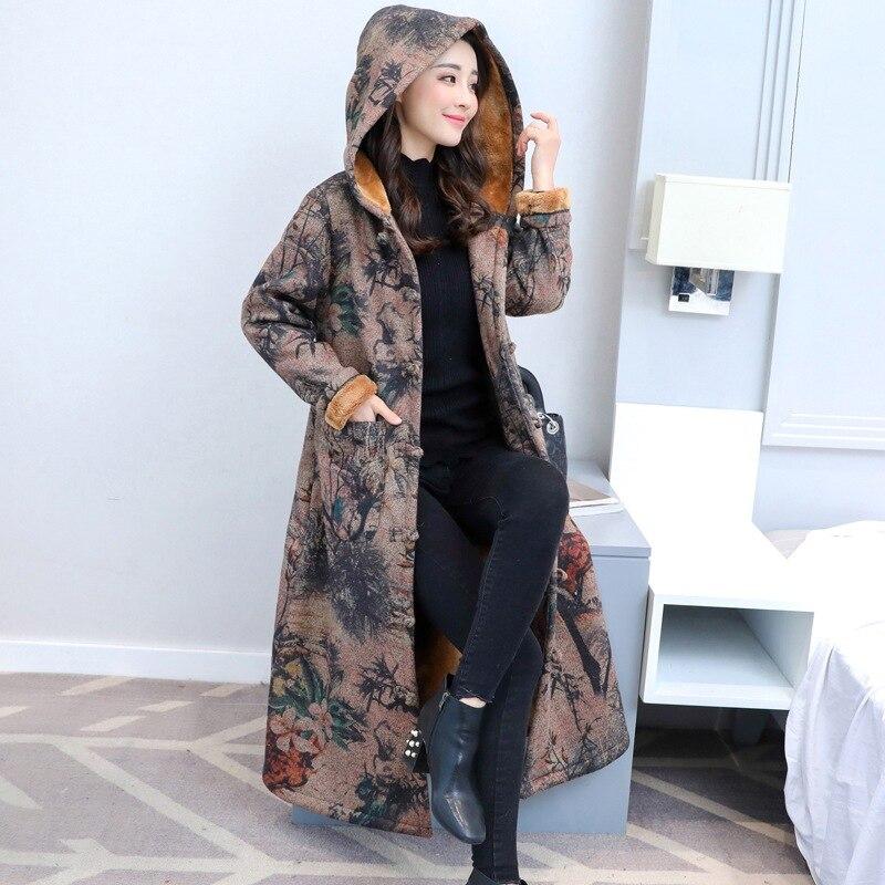 Women Coat Warm Overcoat Winter Outwear Retro Chinese Style Hooded Velvet Suede