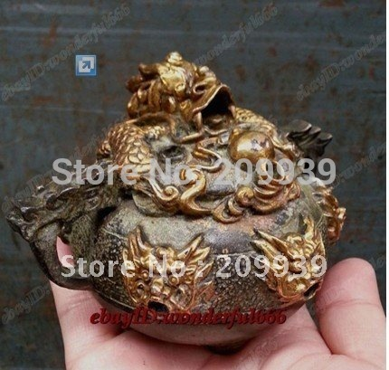 chinese Collection Ancient Bronze Excavated Statues gilded dragon Incense Burner|Statues & Sculptures| |  - title=