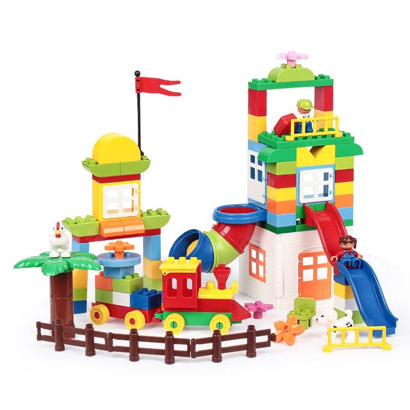Briques de grande taille parc d'attractions château modèle blocs de construction Duploe particules ville maison jouets pour enfants cadeaux
