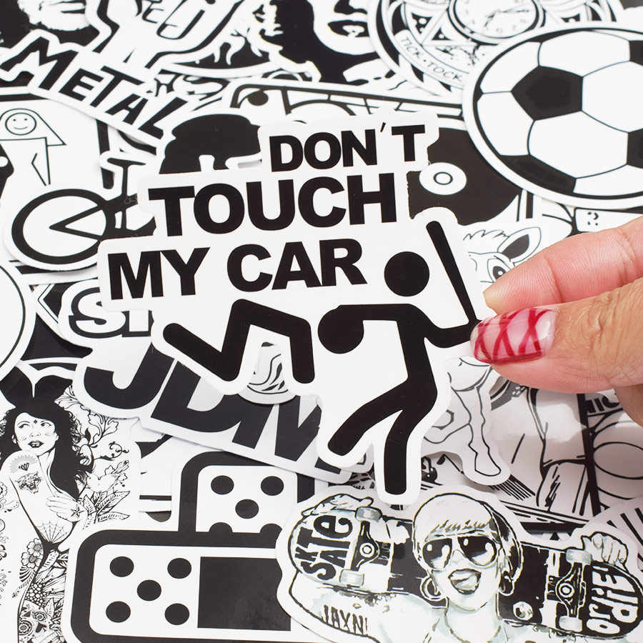 50 шт. случайная черно-белая наклейка Граффити Панк JDM крутая наклейка s для детей наклейка на ноутбук чемодан для скейтборда велосипедный шлем