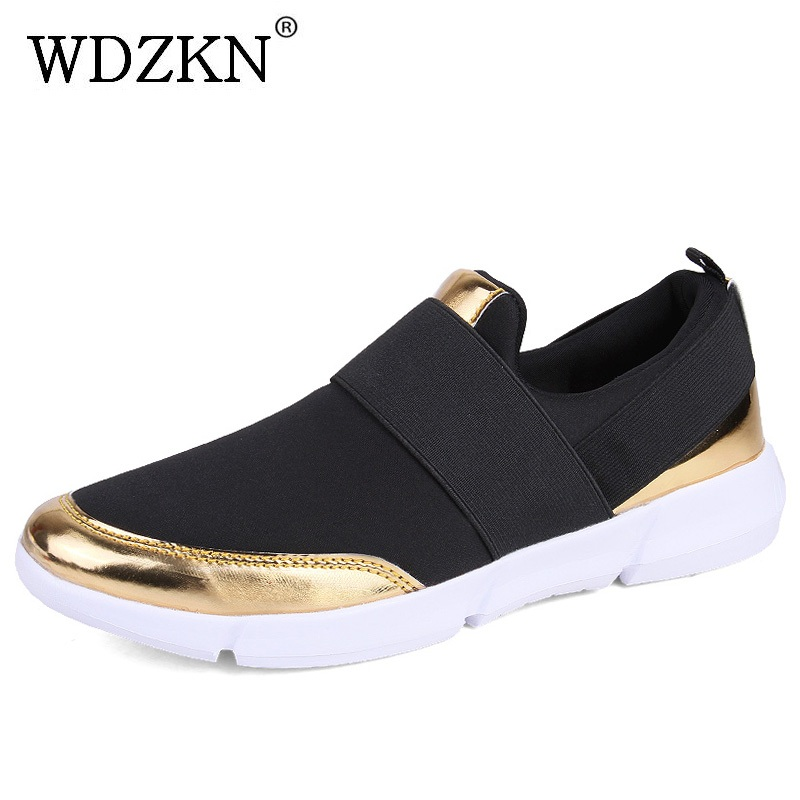WDZKN 2018 Big Size 35-42 Women Shoes Breathable Casual Shoes Women Spring Summer Lightweight Slip On Loafers Women Flat Shoes pinsen fashion women shoes summer breathable lace up casual shoes big size 35 42 light comfort light weight air mesh women flats