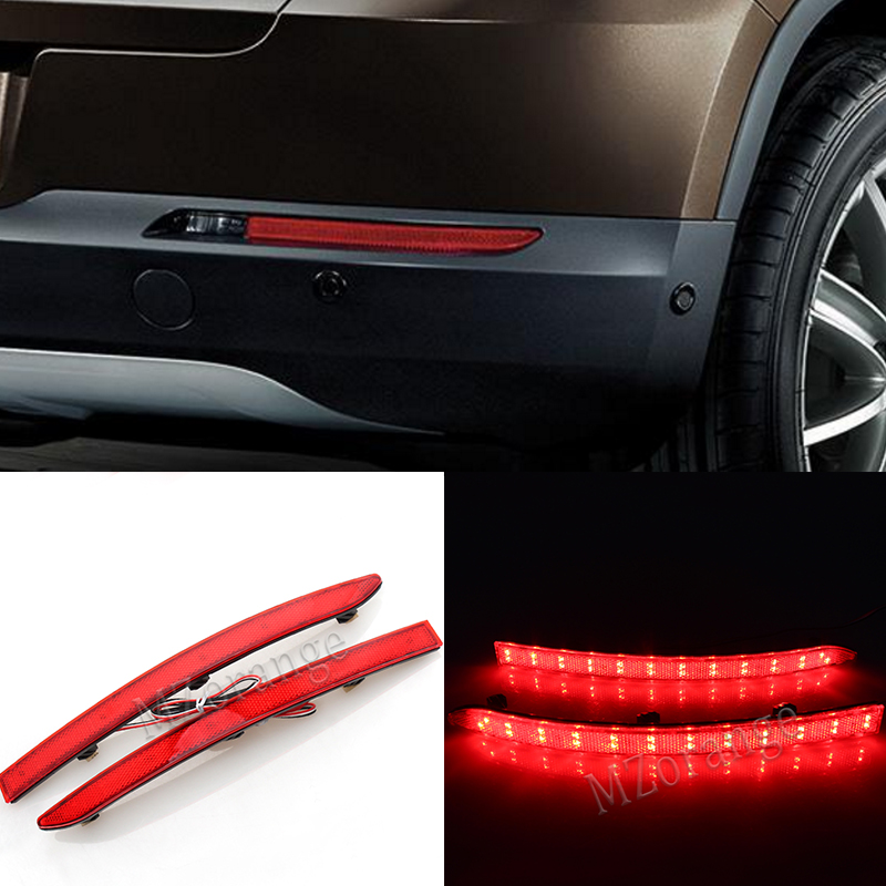 For volkswagen VW Tiguan 2009 2010 2011 2012 2013 2014 2015 2Pcs/set LED Car Rear Bumper Reflector Stop Brake Lights Turn Light car auto accessories rear trunk trim tail door trim for subaru xv 2009 2010 2011 2012 2013 2014 abs chrome 1pc per set