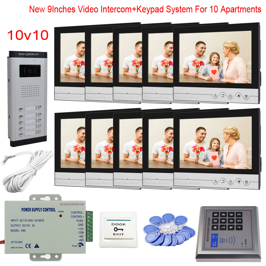 """Touch Key 9"""" Monitor Homephone Apartment 6/8/10/12 Wired Video Intercom With Rfid Code Access Control System Kit Door Bell"""