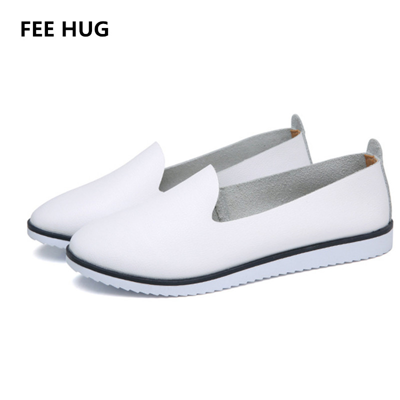 FEE HUG 2018 Women Shoes Split Leather Flats Loafers Shoes For Woman Spring Slip-on Round Toe College Casual Ladies Lazy Shoes women loafers casual shoes female round toe slip on wide shallow flats lady shoes oxford spring summer shoes for women or910314