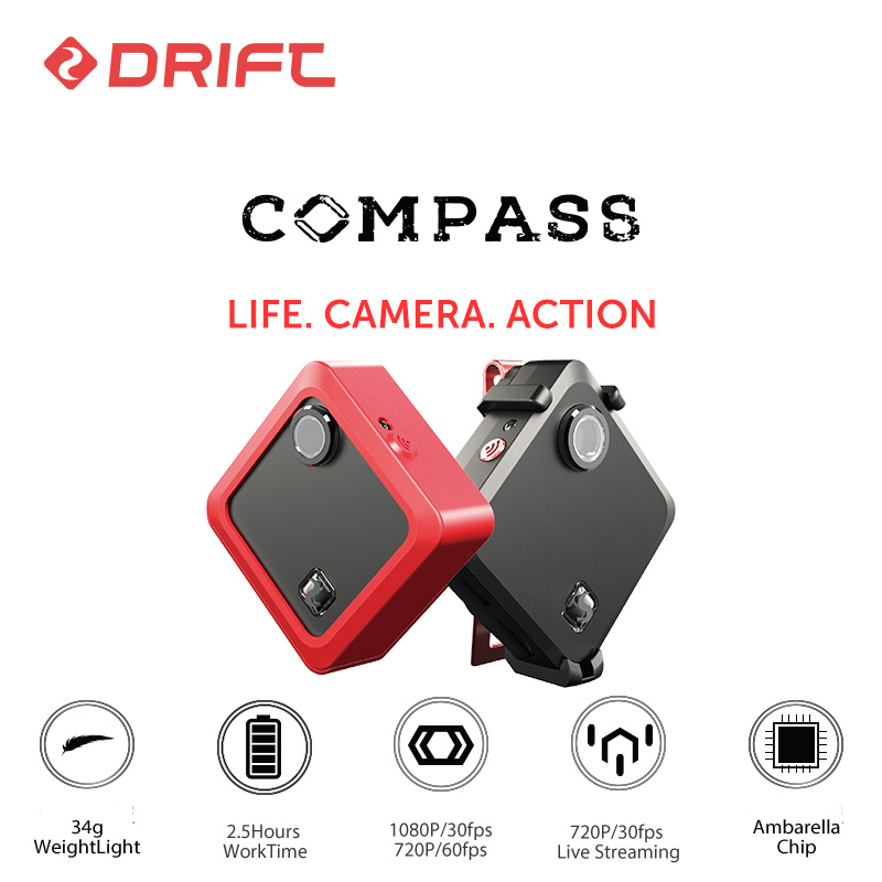 D'origine Dérive BOUSSOLE Portable Action Caméra 1080 p HD Sport mini aller extrême pro cam avec WiFi Ambarella A7