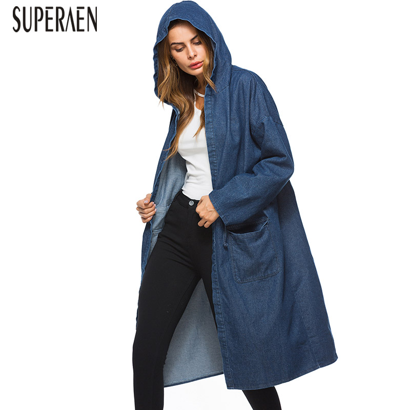 SuperAen Pluz Size Denim   Trench   Coat for Women Autumn New 2018 Hooded Ladies Windbreaker Casual Wild Fashion Women's Clothing