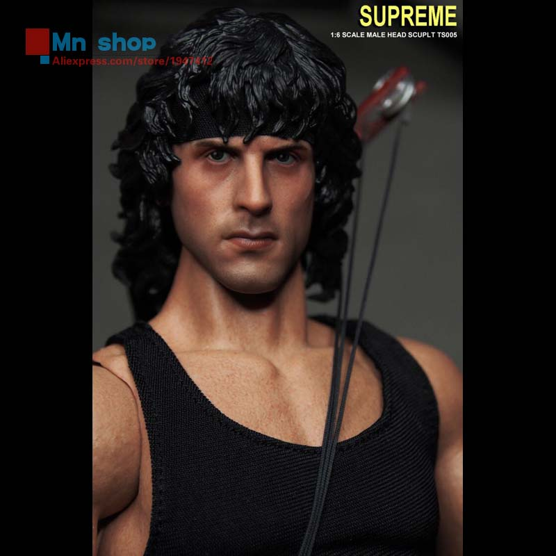 ФОТО Supreme 1:6 Action Figure Accessory Custom TS005 like Shitai Long Rambo First Blood Part Head Carving for 12