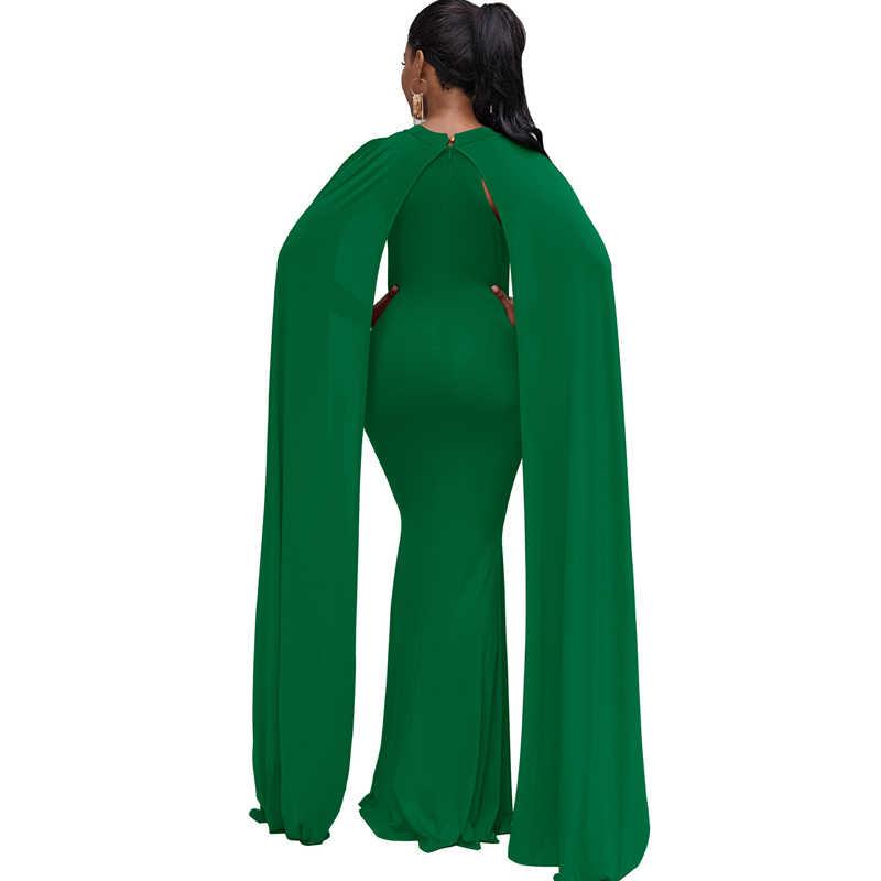 2019 Vrouwen Elegante Party Mermaid Jurken Cloak Mouwen Schede Bodycon Zomer Rood Groen Zwart Lange Maxi Jurk Vestidos Mujer