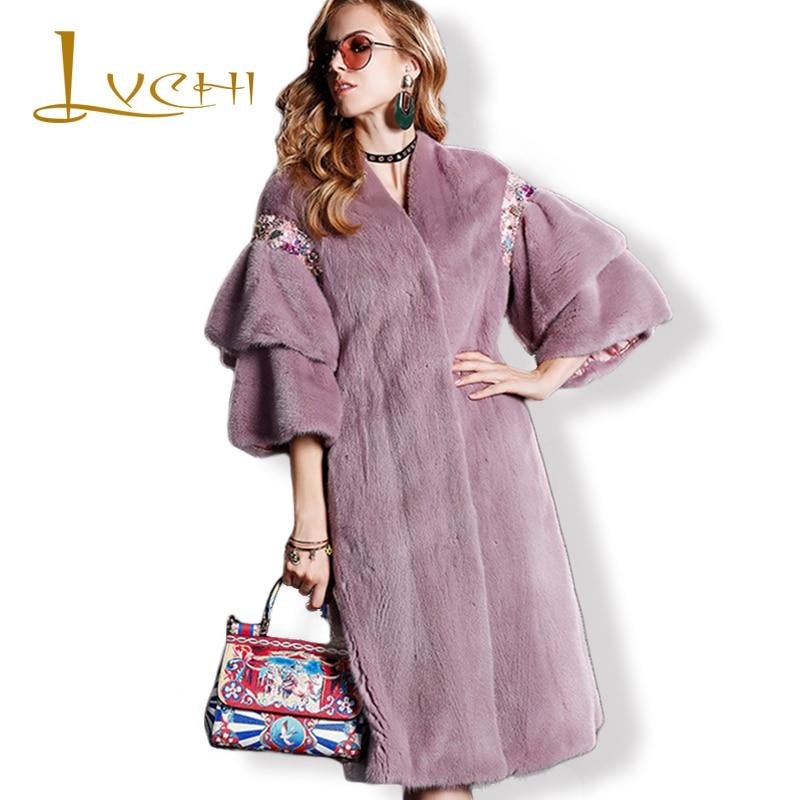 LVCHI Draped Lengan Rok Mink Fur Coats 2019 Berlian Mode V Neck Fur - Pakaian Wanita - Foto 1