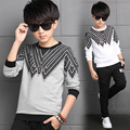 2017 Spring fall fashionable classic children's casual T-shirt boy wild loose wave pattern V-type cotton primer shirt 4-13 years