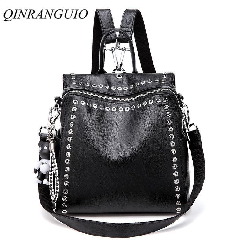 QINRANGUIO Leather Backpack Women School Bags for Teenage Girls 2019 New Fashion Large Capacity PU Leather Innrech Market.com