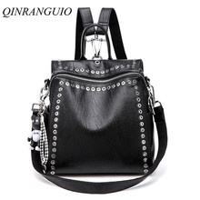 QINRANGUIO Leather Backpack Women School Bags for Teenage Girls New Fashion Large Capacity PU Leather Black Women Backpack 2020
