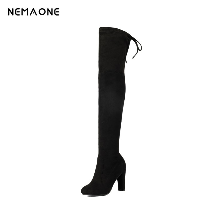 Fashion suede leather Black gery chunky heel vintage boots women over the knee boots stretch Silm fit high heel thigh high booty