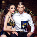 Бесплатная доставка новые мужские мужской моды случайные осень белый Тонкий печати персонализированных без железа рубашку с длинными рукавами 2128 FanZhuan