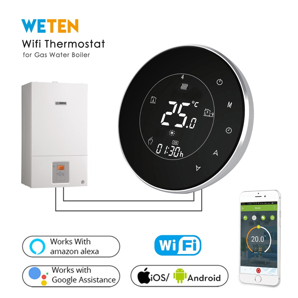 Smart Thermostat Wifi Wireless Thermostat for Water Gas Boiler Heating Thermostat Phone App Voice Control with