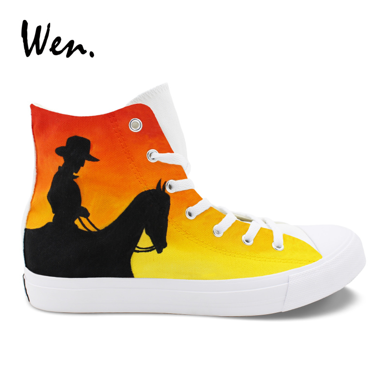 Wen West Cowboy Hand Painted Vulcanize Shoes Men Low Heeled Flat Bottomed Casual Canvas Sneakers Women Lacing Plimsolls Pedal wen women vulcanize shoes high top white canvas sneakers round toe low heeled casual flat original design food series patterns