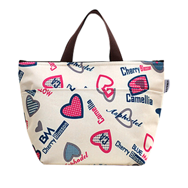 Portable Insulated Canvas Lunch Bag Thermal Picnic Women Small Cooler Box Tote Size 31