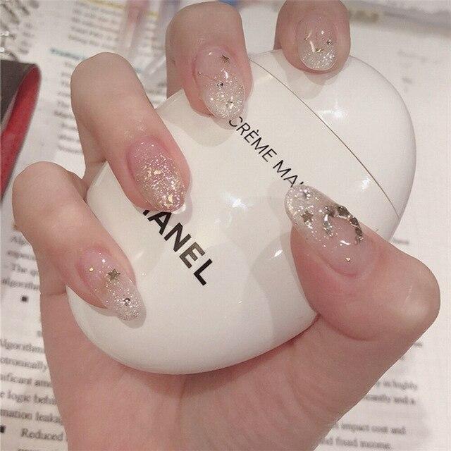 24pcs fashion glamour fake nails bridal manicure glamorous bright shiny nail patch professional beauty tools