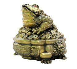 Exquisite Chinesische Fengshui Bronze Reichtum Füllhorn Glück Goldene Kröte Drachen Kopf Münzen Spittor Skulptur Statue