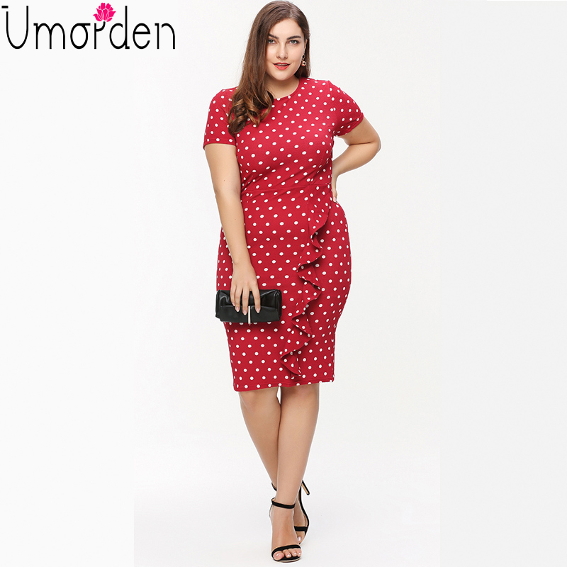 Polka Dot Ruffle Pencil Office Dress Plus Size Red Black O Neck Short Sleeve Large Big Size Slim Bodycon Office Dress Vestidos
