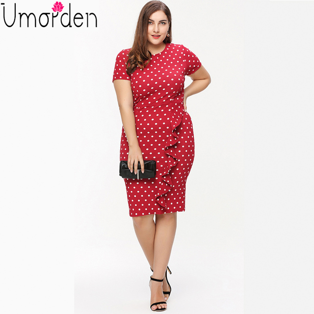 Polka Dot Ruffle Pencil Office Dress Plus Size Red Black O Neck ...