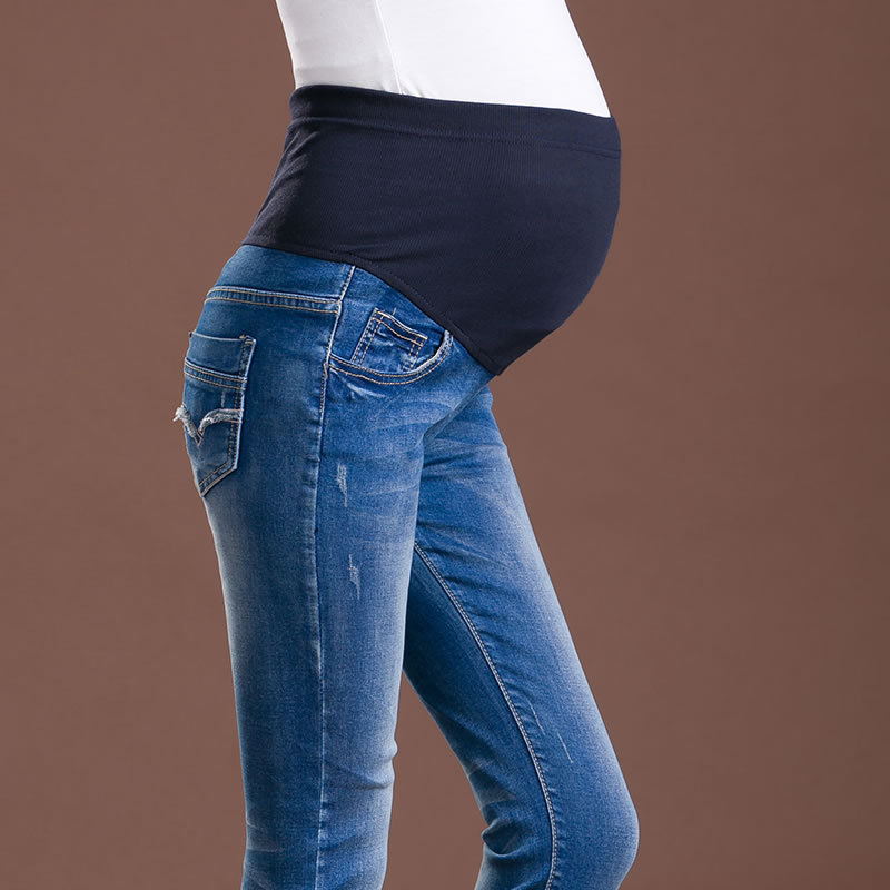 Elastic Waist Plus Size Women Pregnant Jeans Maternity Denim Clothes Belly Pregnancy Pants Maternidade Vetement Grossesse sexy women denim light blue skinny jeans crochet lace party female carve flower pants for women plus size s 3xl clothing k096