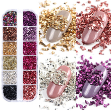 3D ไม่สม่ำเสมอหิน Flakes Glitter แก้วหักเล็บ Art Rhinestones ลูกปัด Rose Gold Studs เพชรตกแต่งเล็บ LABLB/S