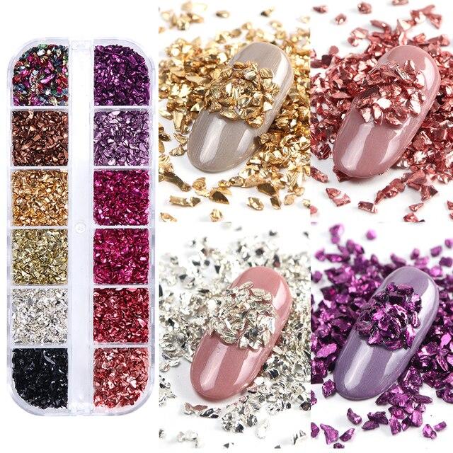 3D Onregelmatige Stenen Vlokken Glitter Gebroken Glas Nail Art Steentjes Kralen Rose Gouden Studs Diamanten Manicure Decoraties Lablb/S