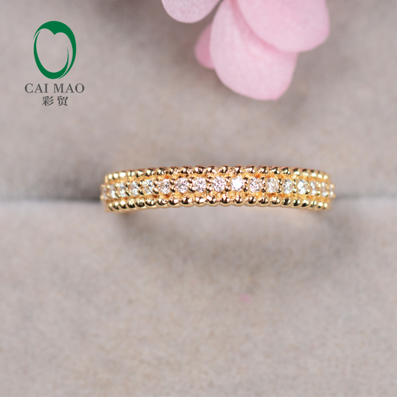 0.13ct Pave G H SI1 Natural Diamond Engagement Wedding Band Caimao Jewelry Half Eternity Classic For Unisex