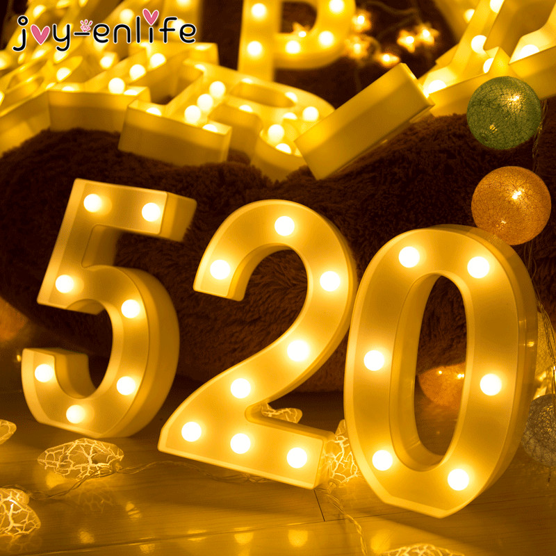 JOY-ENLIFE White Plastic Number 0-9 LED Night Light Marquee Sign Alphabet Lights Lamp Home Club Outdoor Indoor Wall Decoration