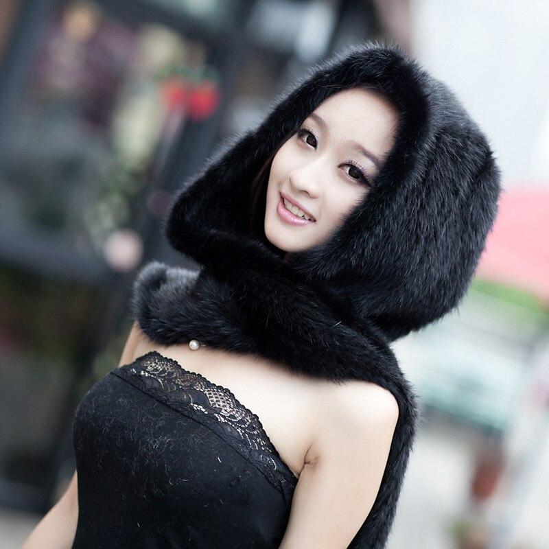 Sombrero de piel de visón genuino de Invierno para mujer gorro de visón de punto de piel Natural bufanda de una pieza silenciador cálido para mujer DL6186