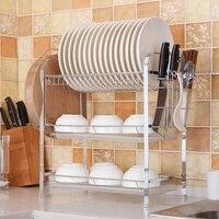 Nuevo Estante de cocina de acero inoxidable estante de vajilla de secado estante de tres niveles de