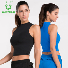 Camisetas mujer Vansydical 2017 Summer New Women Sports Compression Shirt Stretch Tank Top Cropped Tops Fitness Wear Yoga Vest