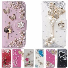 Rhinestone flower Case Cover For BlackBerry Q30/BlackBerry Passport Q30,Crystal Diamond phone Case Wallet PU Leather Flip Cover
