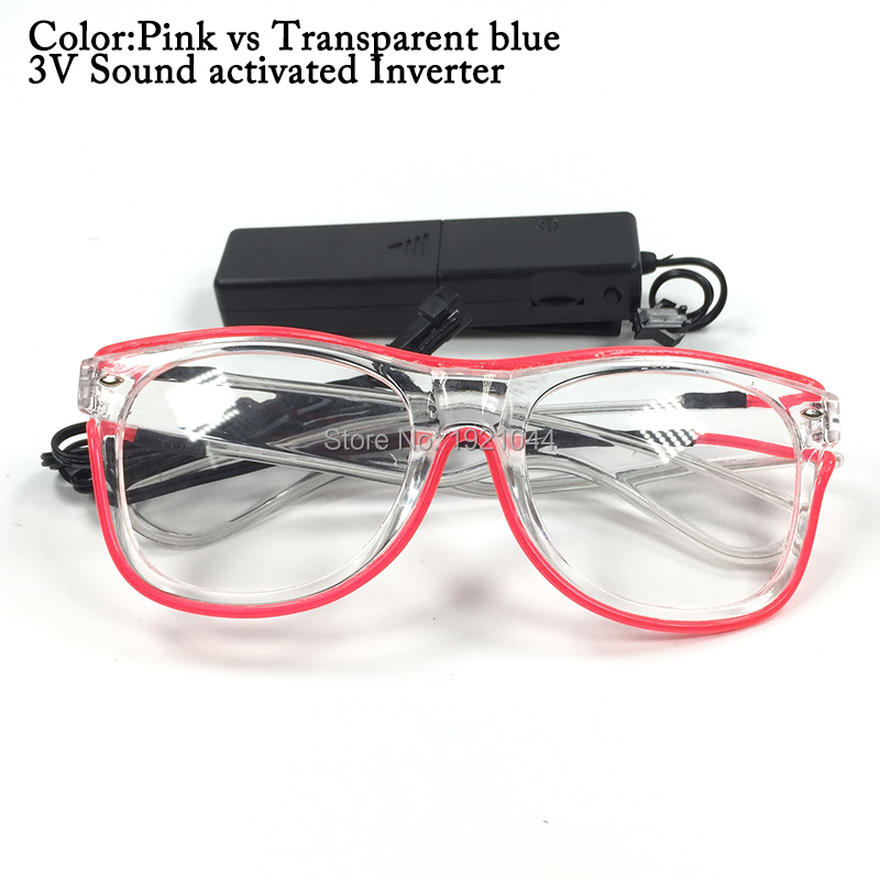 New arrival Double Color EL Wire Glowing Sunglasses With DC-3V Sound activated Halloween Party favors