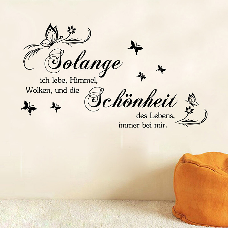 2016 Butterfly German <font><b>Inspirational</b></font> Quotes Vinyl Wall Sticker Removable <font><b>Home</b></font> Poster Living Room DIY Art Decals Sofa Wall <font><b>Decor</b></font>