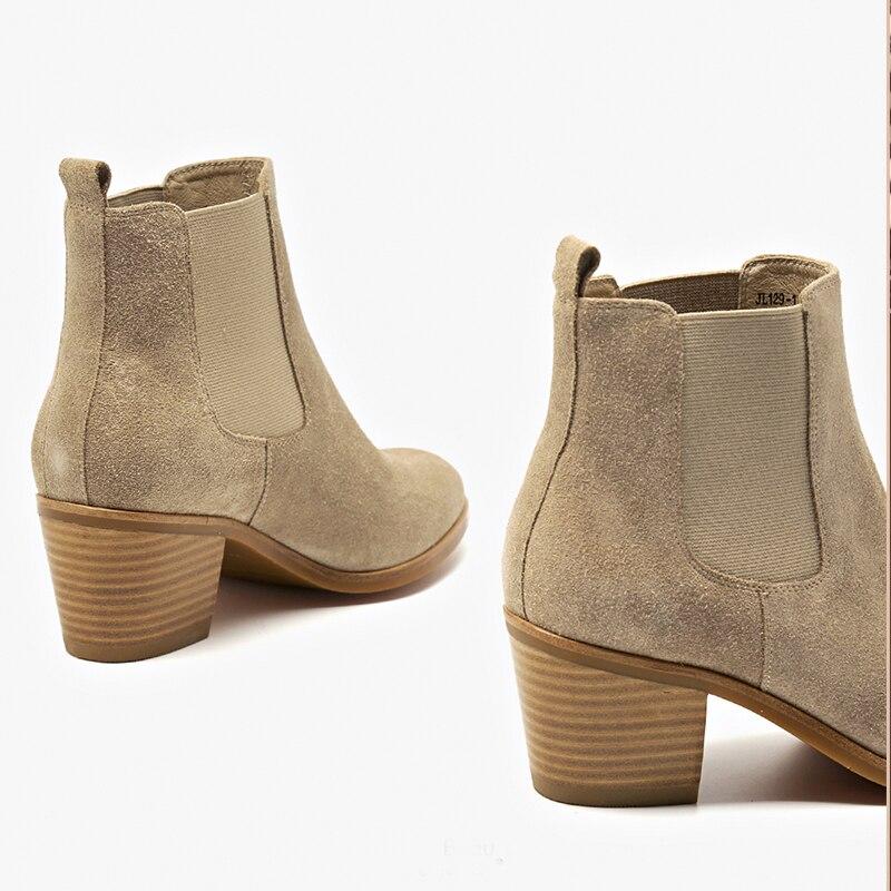 Bottes Femme Véritable Neige Hiver Cheleas Black brown Court Printemps Cuir Brun Pour De En Cheville Femmes Boot Talon 2019 nude 5w7RqYx1x