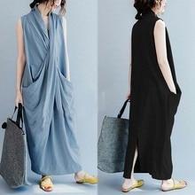 S-5XL Women Cross V Neck Sleeveless Shirt Dress Long Maxi Plus Size