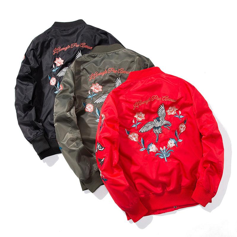 Aolamegs Bomber Jacket Japanese Embroidery Thin Men's Jacket Couple Hip Hop Fashion Outwear Autumn Men Coat Baseball Jackets New (6)