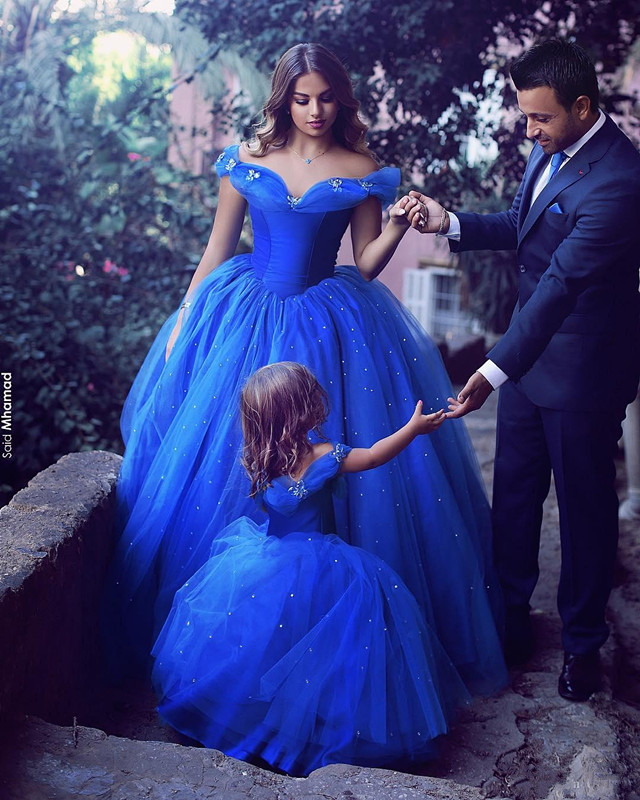 Long Princess Cinderella Flower Girl Dresses Off-the-shoulder Floor Length Ball Gown Kids Pageant Gowns Kids Birthday Party Gown