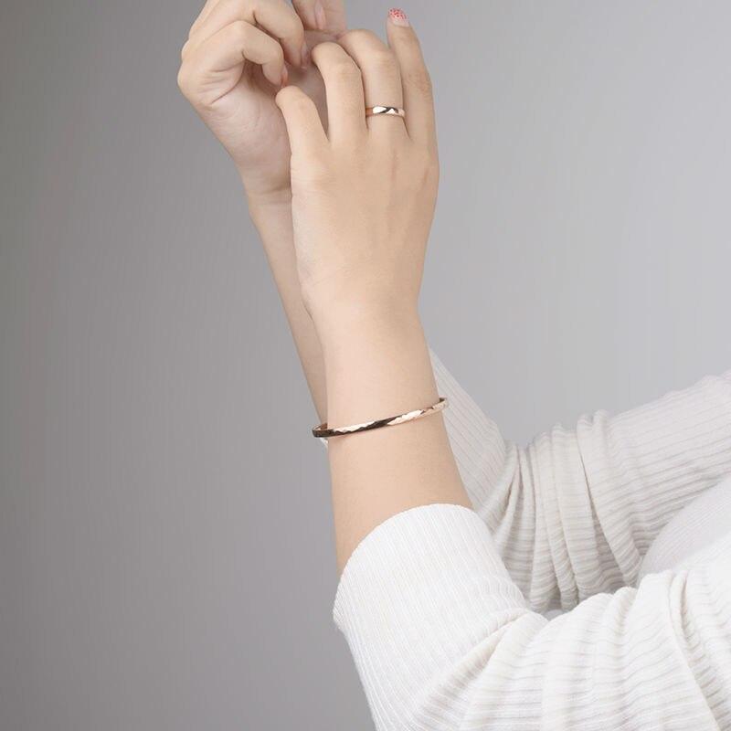 Haute qualité belle plaqué or Rose tungstène or Bracelet Bracelet bijoux pour femme/filles/dame boîte-cadeau gratuite - 5