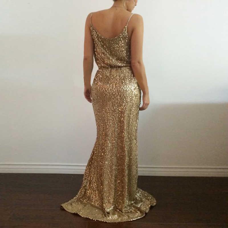 d7b400d58350a NATTEMAID Shining Gold Sequin Maxi Long Dress Elegant Evening Robe Sexy  slit Bustier Dress spaghetti strap v neck dresses