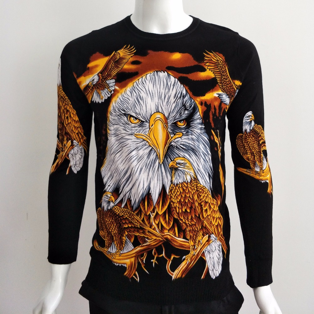 Factory Direct Sales Exquisite 3D Eagle Pattern Printing Fancy Sweater Autumn 2018 Quality Cotton Soft Elastic Sweater Men M-3XL