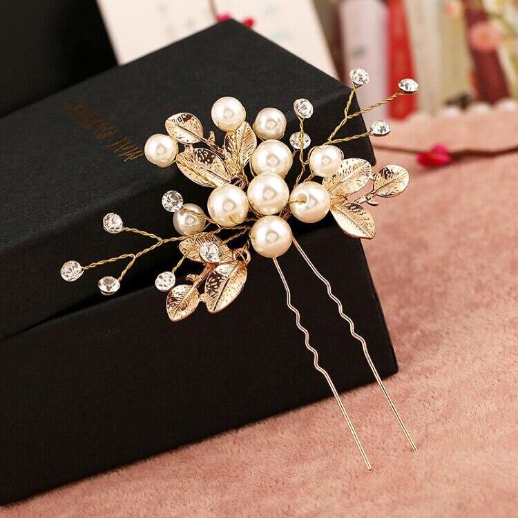 Bohemian Wedding Headdress Gold Leaves Crystal Pearls Bride Accessories Rhinestone Comb Crown Evening Hair Accessories Tiaras